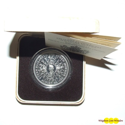 1980 Silver Proof CROWN - 80th Birthday Queen Mother
